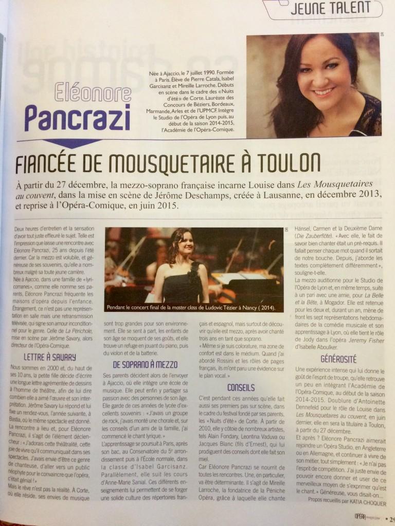 article dans opéra magasine Eléonore